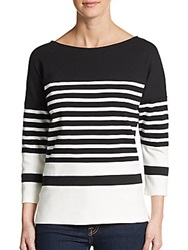 Vince Nautical Striped Top White Black