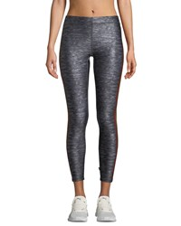 Terez Cropped Side Stripe Performance Leggings Gray Pattern