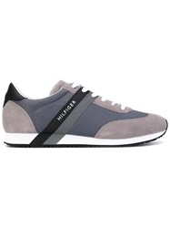 Tommy Hilfiger Striped Laterals Sneakers Men Suede Polyester Foam Rubber 45 Grey