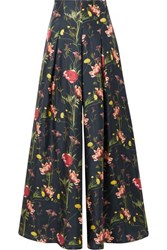 Mother Of Pearl Floral Print Silk Satin Twill Wide Leg Pants Midnight Blue