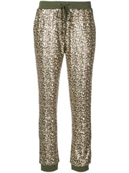 Twin Set Sequinned Track Pants Green