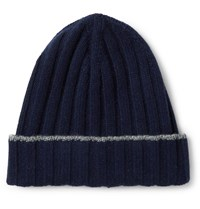 Brunello Cucinelli Contrast Tipped Ribbed Cashmere Beanie Blue