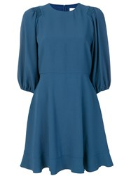 Red Valentino Flared Pleated Dress Polyester Acetate Viscose Blue