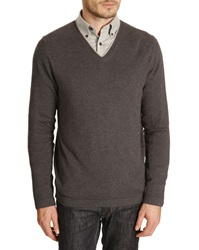 Harris Wilson Larry Cotton Wool Blend Dark Grey Marl Sweater With Piped V Neck