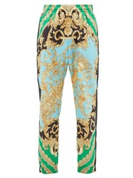 Versace Baroque Print Shell Track Pants Green Multi