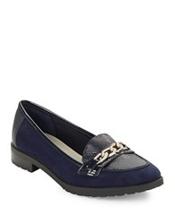 Anne Klein Barlie Leather And Suede Loafers Navy Blue