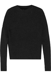 Rick Owens Crater Ribbed Cashmere Blend Sweater Charcoal