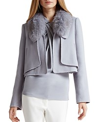 Halston Heritage Detachable Fur Collar Jacket Haze