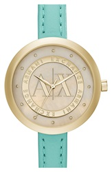 Armani Exchange Crystal Index Logo Dial Watch 40Mm Green Gold