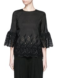 Ms Min Bell Sleeve Broderie Anglaise Cotton Silk Top Black