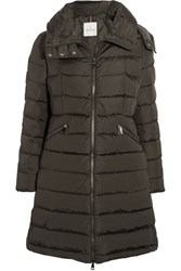 Moncler Flamette Quilted Shell Down Coat Army Green