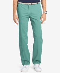 Izod Men's Flat Front Straight Fit Performance Cotton Pants Agate Green