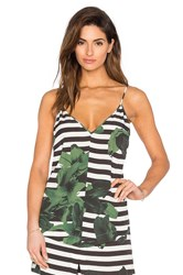 Osklen V Neck Flower Stripe Tank Black