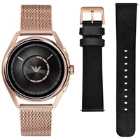 Emporio Armani Connected Art9005 'S Touch Screen Mesh Bracelet And Leather Strap Smartwatch Rose Gold Black