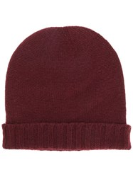 Pringle Of Scotland Ribbed Trim Beanie Hat Red