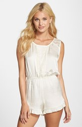 Women's Band Of Gypsies Lace Trim Romper Ivory
