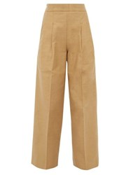 Chimala Pleated High Rise Cotton Twill Wide Leg Trousers Camel