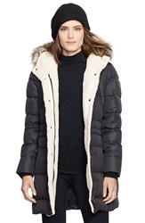 Lauren Ralph Lauren Women's Faux Fur Trim Down And Feather Fill Parka Black