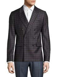 Paul Smith Double Breasted Wool Jacket Brown Plaid