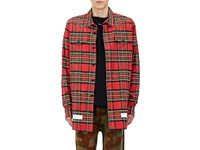 Off White Men's Frayed Checked Wool Cotton Shirt Red