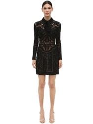 Elie Saab Embellished Crepe And Tulle Mini Dress Black