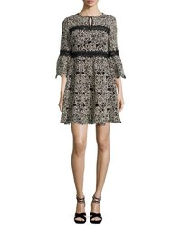 Nanette Lepore 3 4 Sleeve Embroidered Floral Mini Dress Cream Black