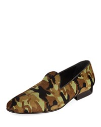 Donald J Pliner Premo Camo Print Calf Hair Slip On Loafers Green