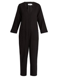Apiece Apart Nasiria Cotton Cropped Tapered Leg Jumpsuit Black