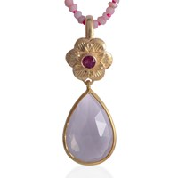 Emma Chapman Jewels Adila Rose Quartz Pendant Pink Purple