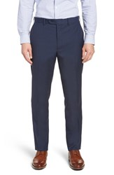 John W. Nordstrom Torino Traditional Fit Flat Front Check Trousers Navy