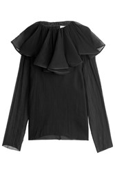 Nina Ricci Silk Crepe Blouse With Ruffled Collar Black