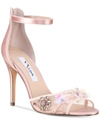 Nina Clarity Mesh Panel Ankle Strap Evening Sandals Women's Shoes Blush Satin