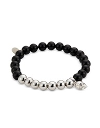 Northskull Black Onyx And Rhodium Skull Charm Bracelet