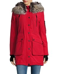 Bcbgeneration Sherpa Lined And Faux Fur Trimmed Hooded Parka Red