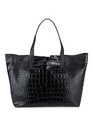 Vince Embossed Leather Tote Black