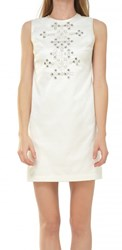 Leon Max Beaded Stretch Jacquard Shift Dress