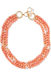 Bounkit Coral Moonstone And Bamboo Necklace Orange