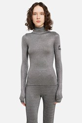 Ann Sofie Back Ribbed Lamaƒa Logo Turtleneck Silver