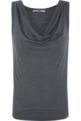 Red Valentino Draped Slub Wool Blend Jersey Tank Gray