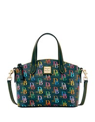 Dooney And Bourke Ruby Db75 Coated Cotton Leather Satchel Black