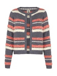 Yumi Stripe Knit Cardigan Grey