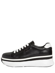 Prada 55Mm Leather Platform Sneakers Black
