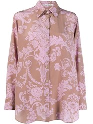 Acne Studios Floral Print Boxy Shirt Brown