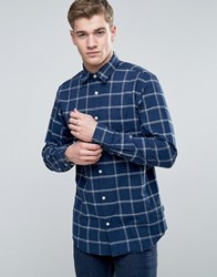Jack And Jones Originals Shirt In Slim Fit With Brushed Check Total Eclipse Navy