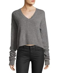 Mcq By Alexander Mcqueen Cutout Back V Neck Sweater Gray