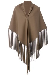 Hermes Vintage Fringed Shawl Brown