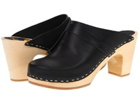 Swedish Hasbeens Slip In Black Clog Shoes