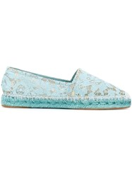 Dolce And Gabbana Lace Espadrilles Blue
