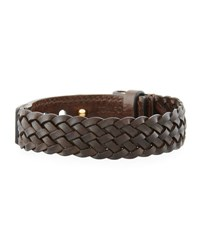 Tom Ford Men's Braided Calf Leather T Buckle Bracelet Brown Gold