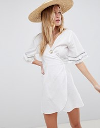 Asos Design Fringed Trim Wrap Beach Cover Up Off White